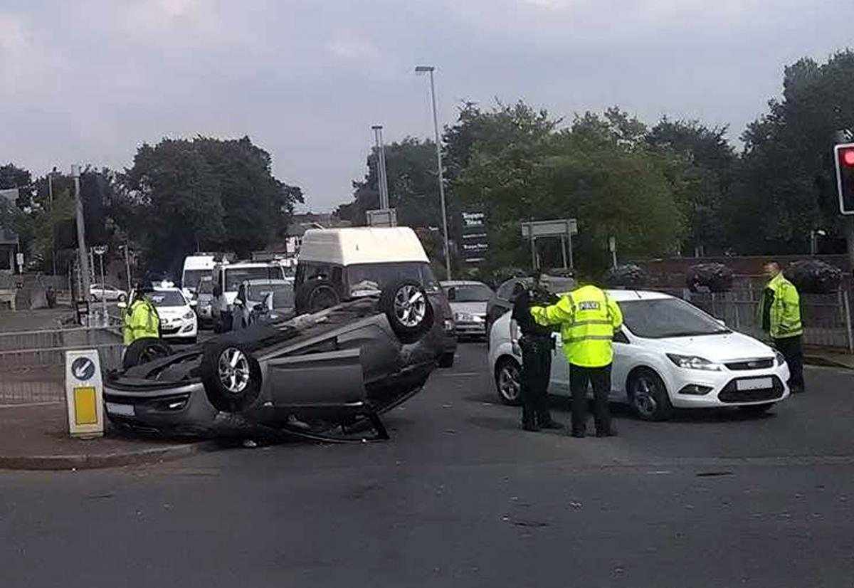 Driver escapes injury after overturning their car in Astley Bridge ...