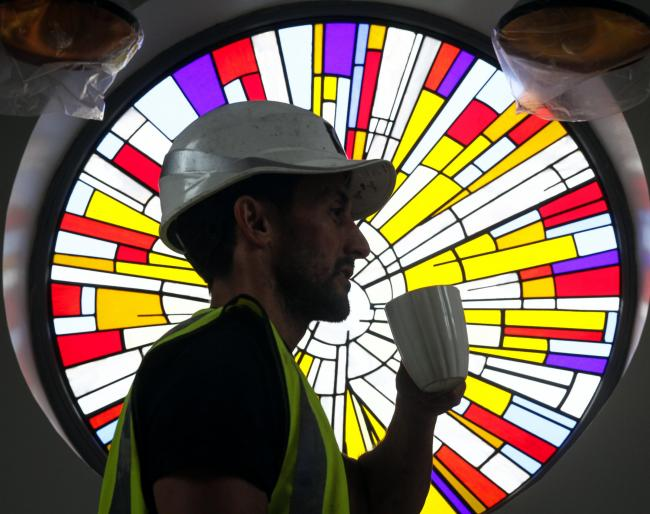 Paul Galloway from Galloway Construction at The Bridge Church who have added a stained glass window to their newly built coffee shop Picture by Phil Taylor.