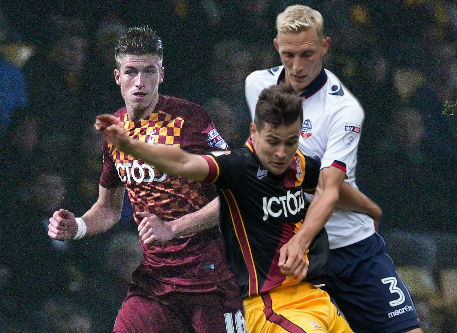 Reece Burke, left, and Josh Cullen - seen battling Wanderers' Dean Moxey last season - have both signed on loan from West Ham