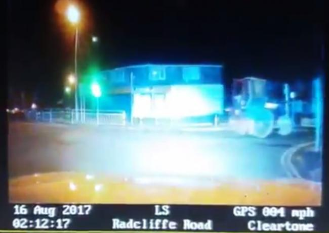 CHASE: Footage of the police pursuit involving a road roller in Bolton