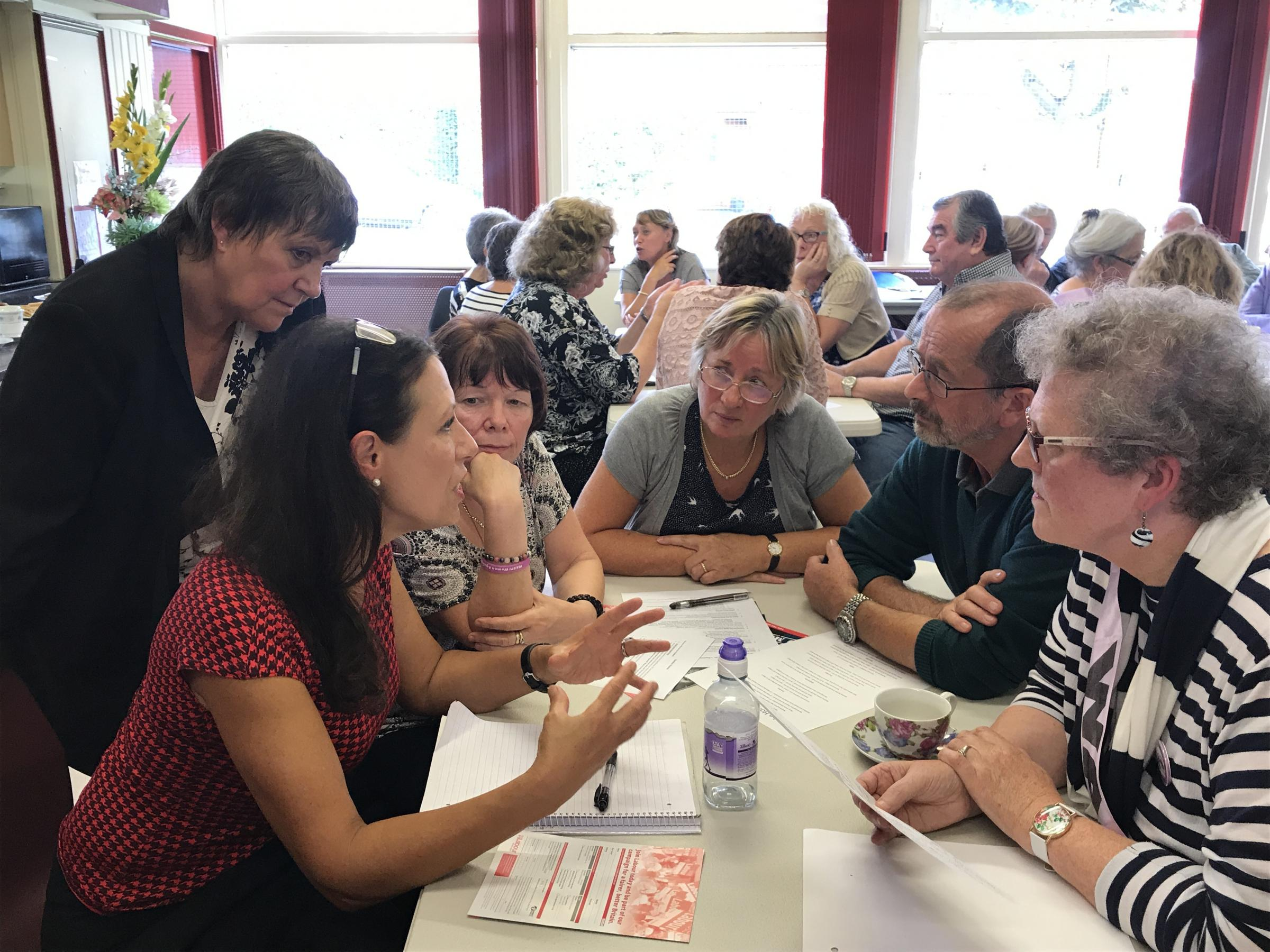 Julie Hilling and Debbie Abrahams MP, Labour's Shadow Secretary of State for Work and Pensions met with pensioners and local residents at the John Holt Centre in Westhoughton