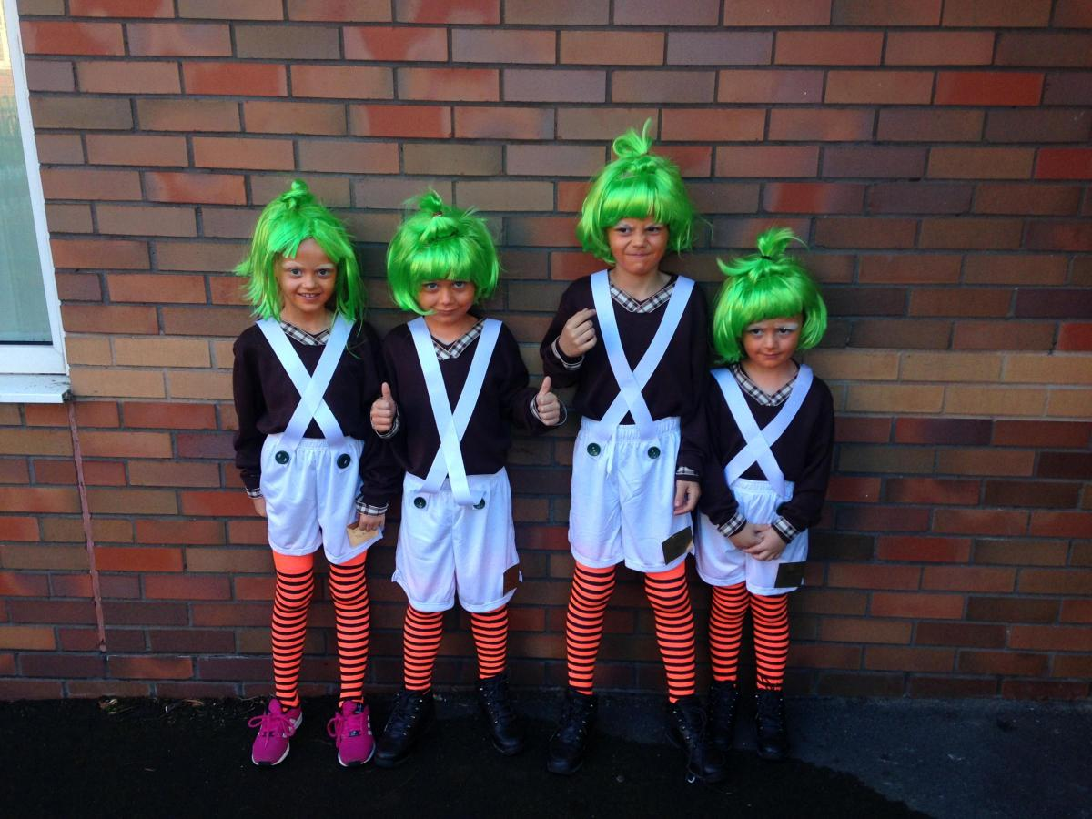 OOMPA: Harvey Dyson, age 9, Mia Dyson, age 8, Theo Dyson, age 6, Jackson Dyson, age 5, Tonge Moor CP school during last year's celebrations