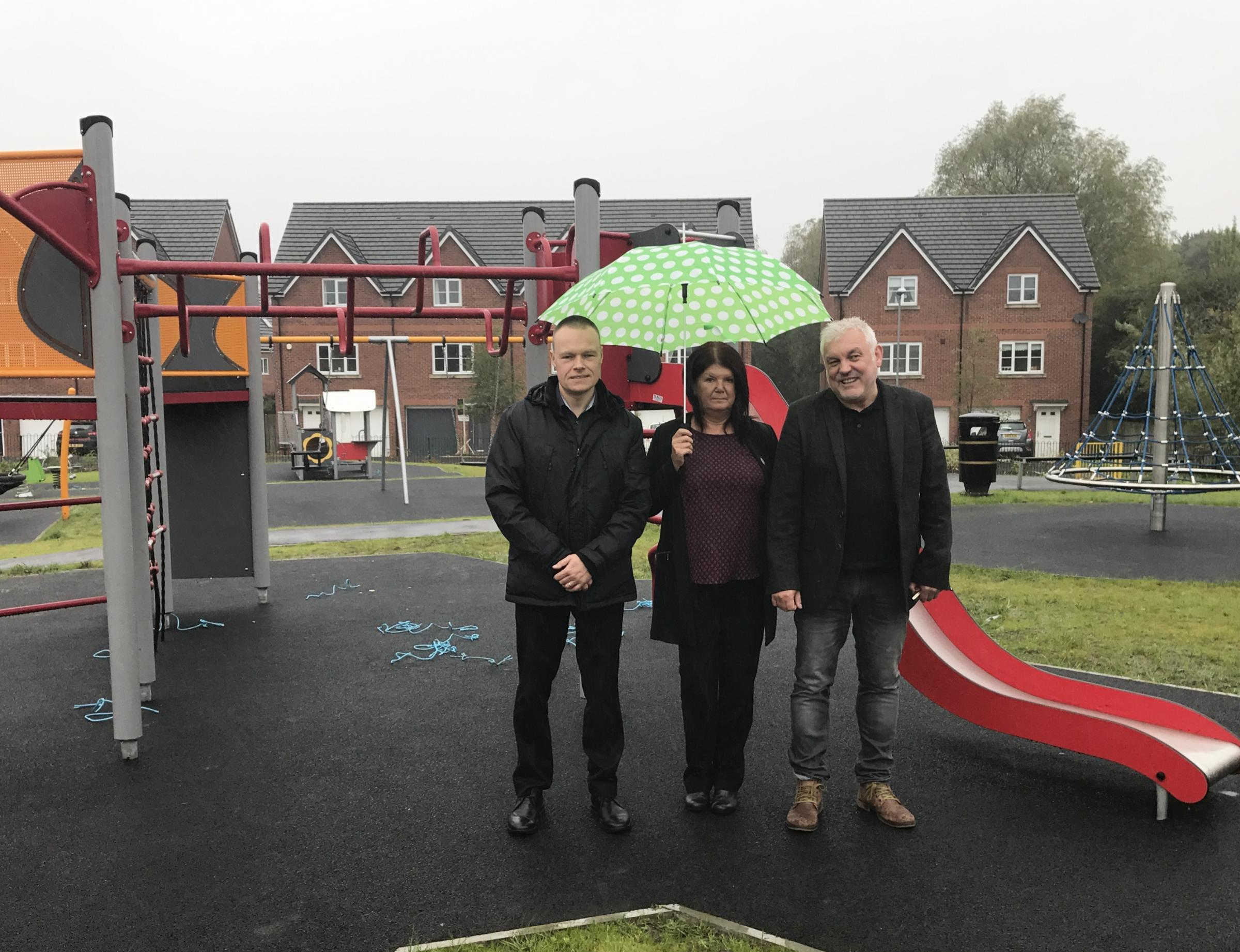 Councillors Stephen Pickup, Ann Cunliffe, and Mike Jarvis at the newly-opened play area in Middlebrook View, Lostock