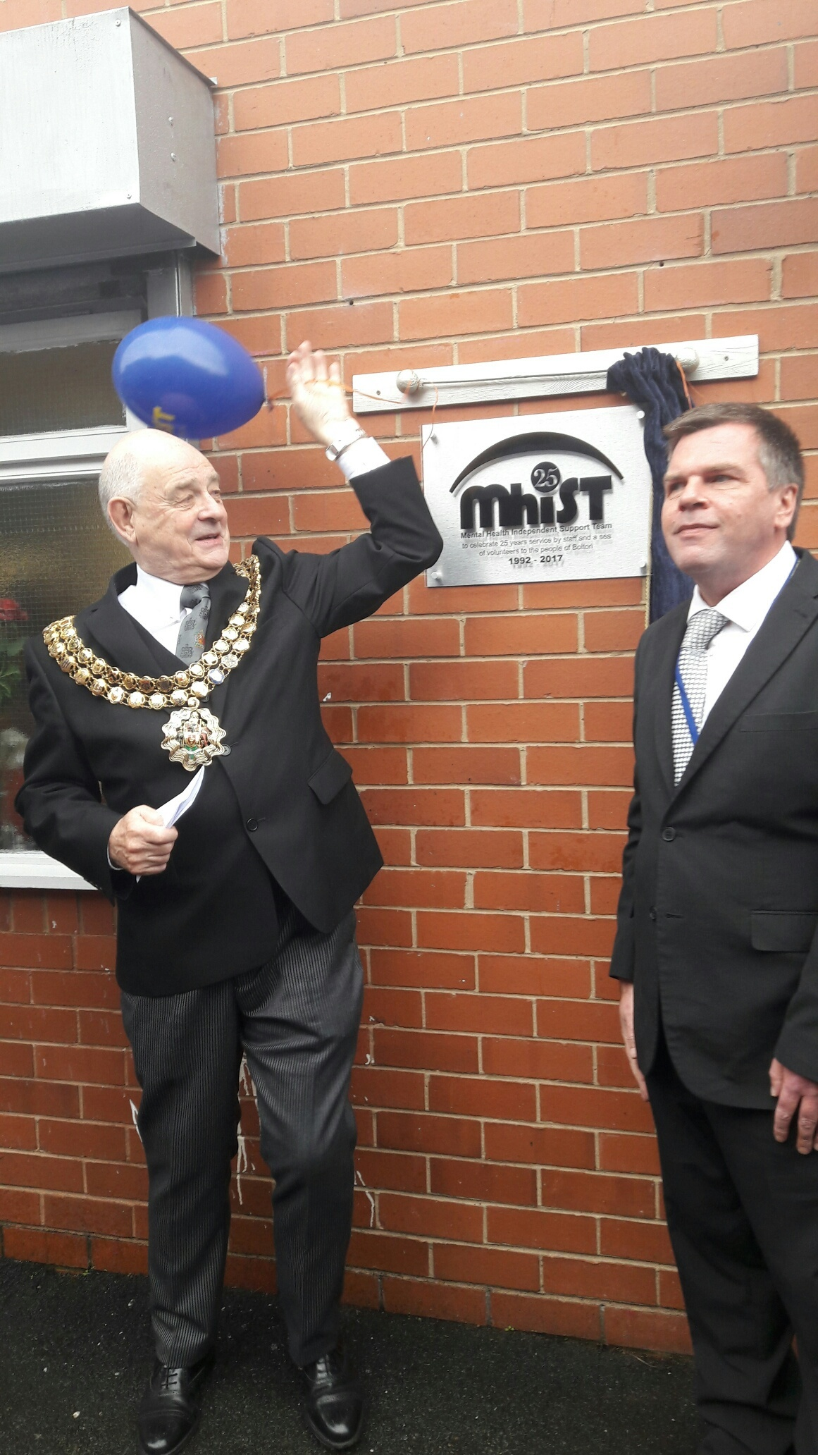 MILESTONE: The Mayor of Bolton, Cllr Roger Hayes, with Peter Pendlebury, chair of MhIST.