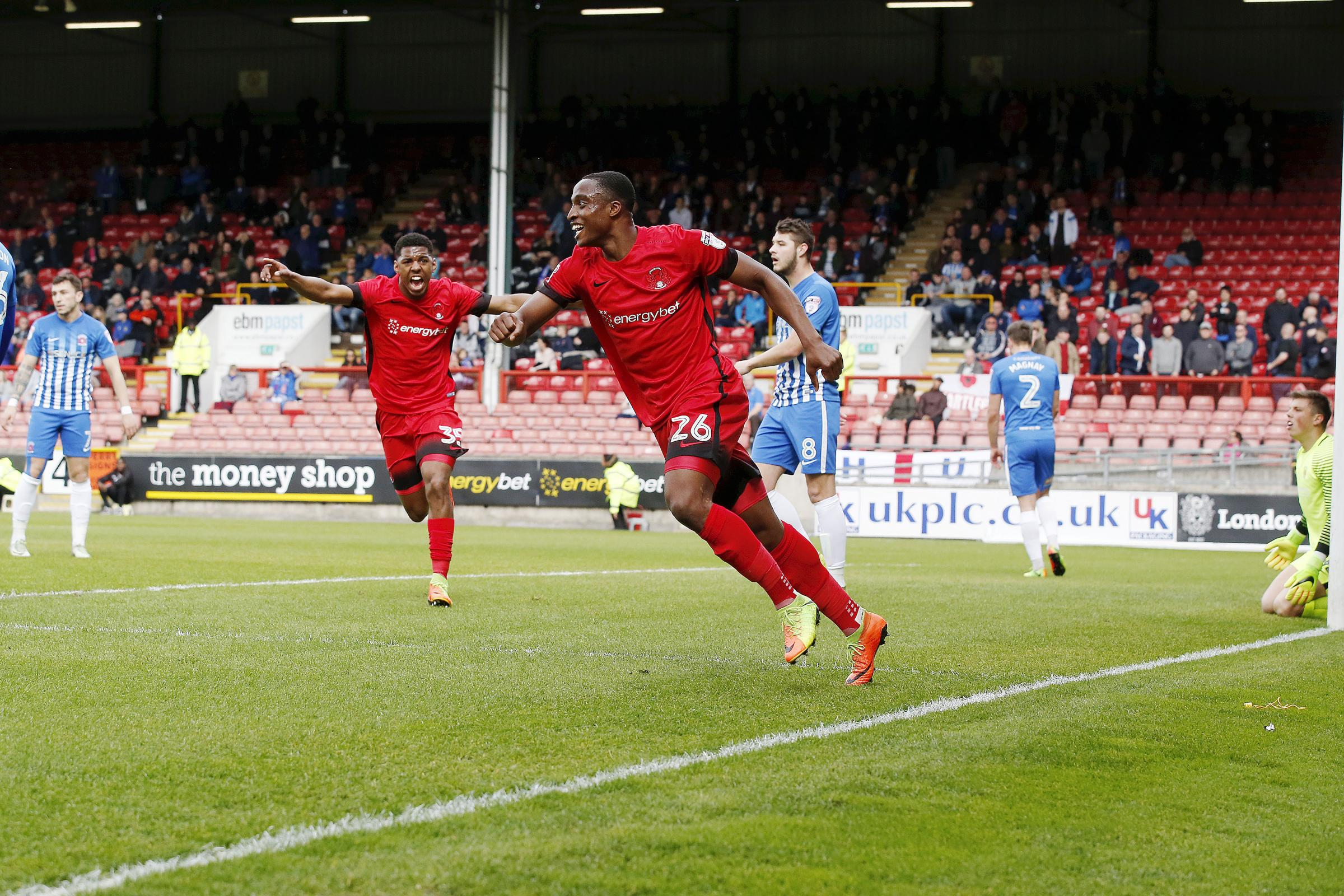 PROSPECT: Ex-Leyton Orient striker Victor Adeboyajo scoring his first senior goal against Hartlepool United. Picture by Simon O'Connor