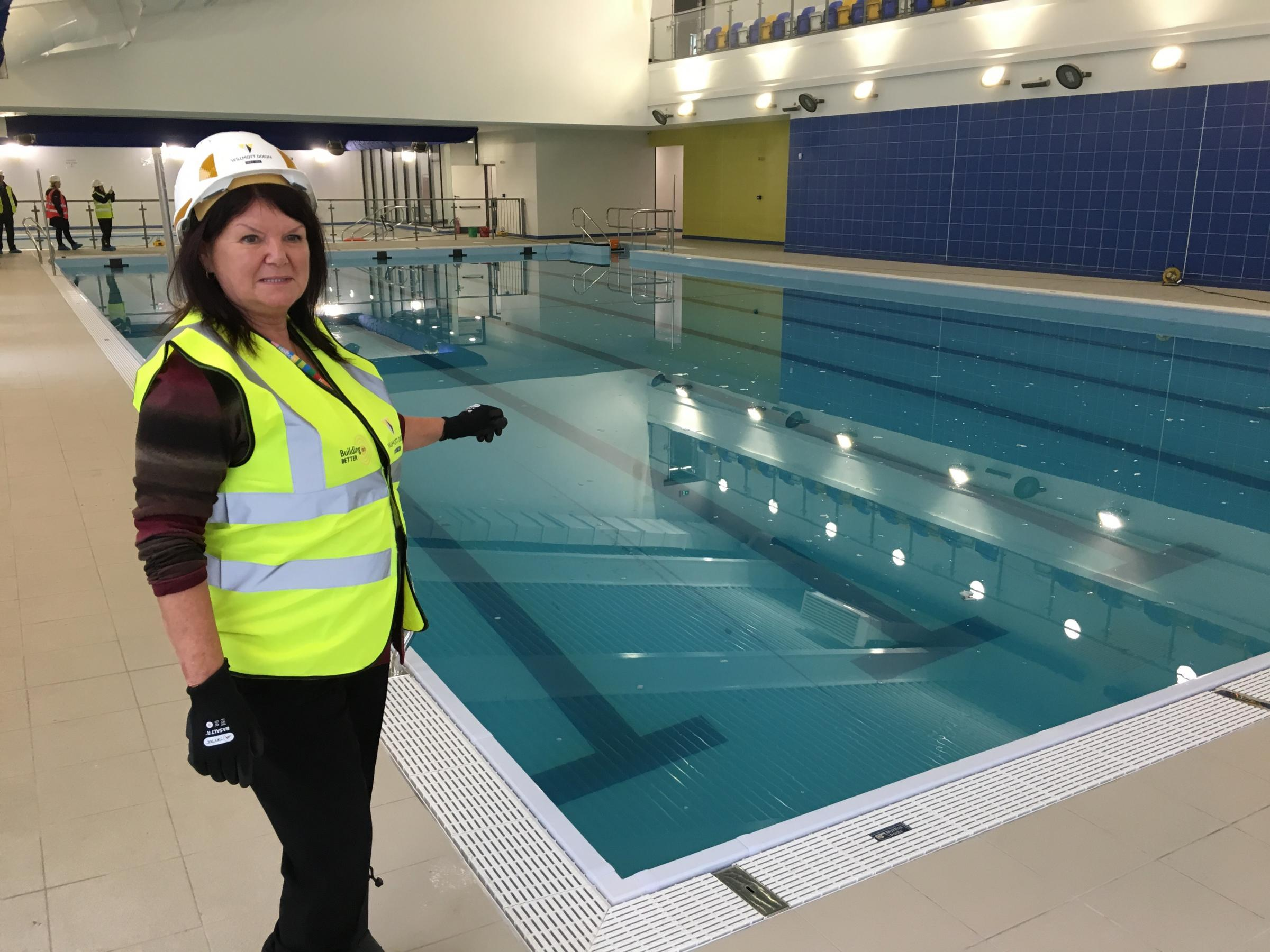 TOUR: First look at the nearly-completed Horwich Leisure Centre (Cllr Ann Cunliffe checks out the pool)