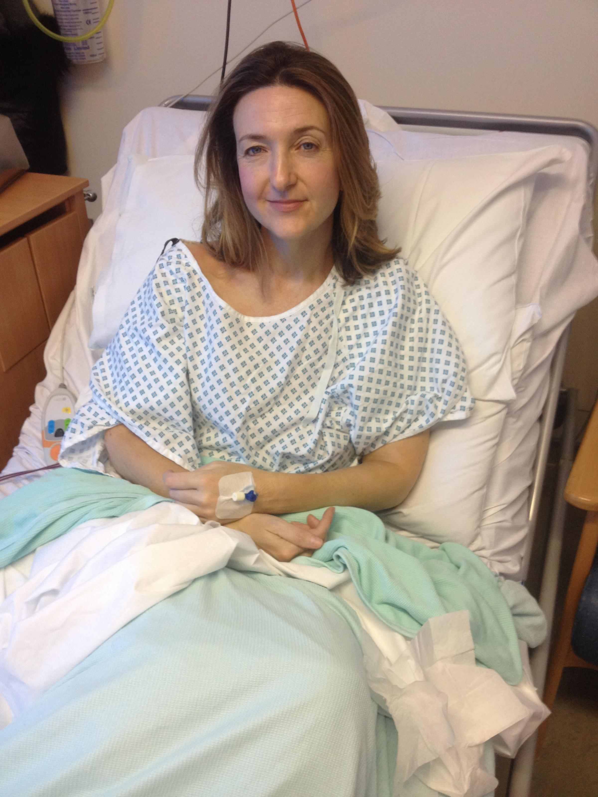 Victoria Derbyshire in hospital before her mastectomy