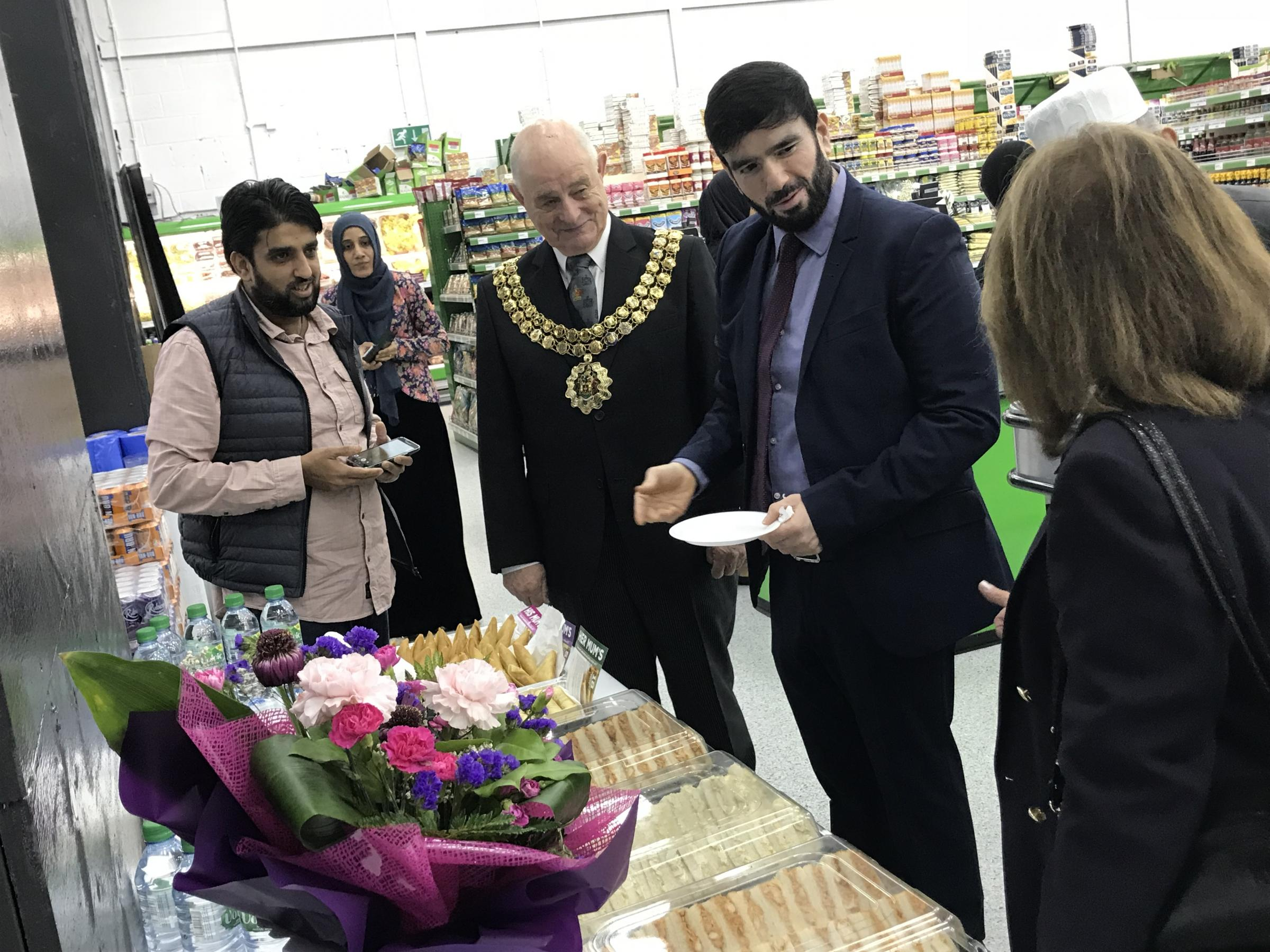 The Mayor of Bolton, Cllr Roger Hayes, at the opening of the new KW food store in Derby Street
