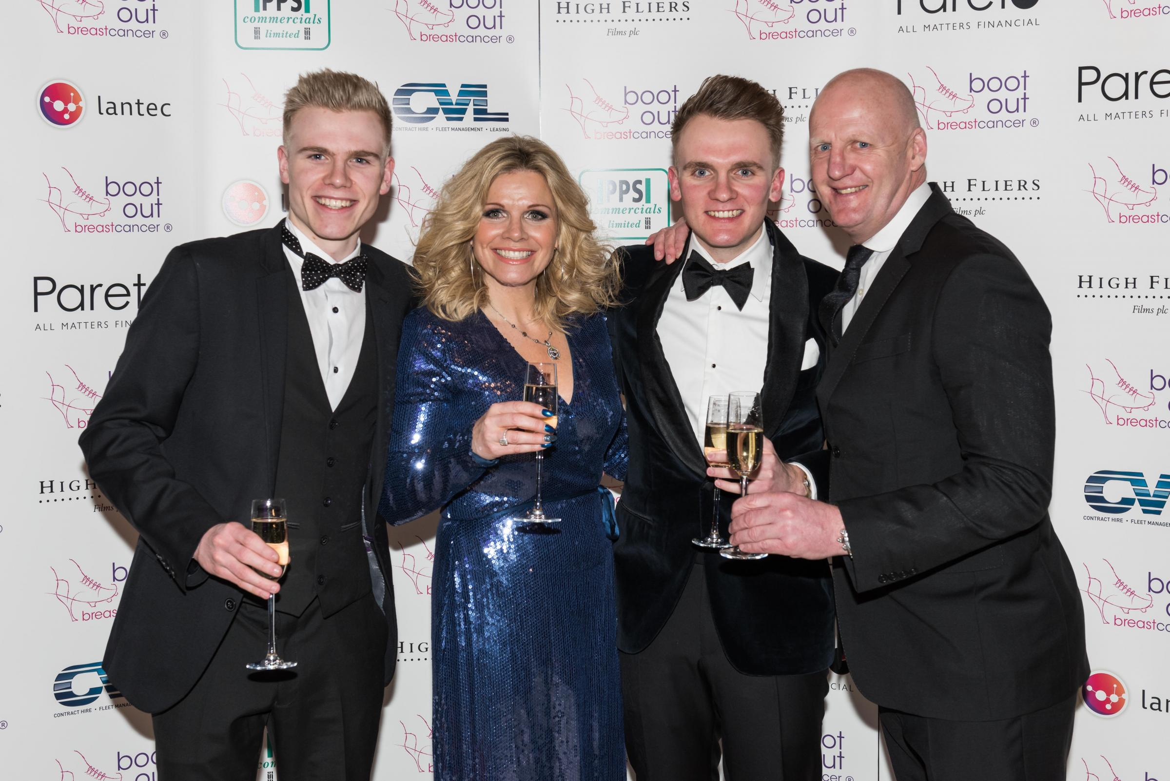 The Dowie family at a Boot Out Breast Cancer event, from left Will, Debbie, Ollie and Iain
