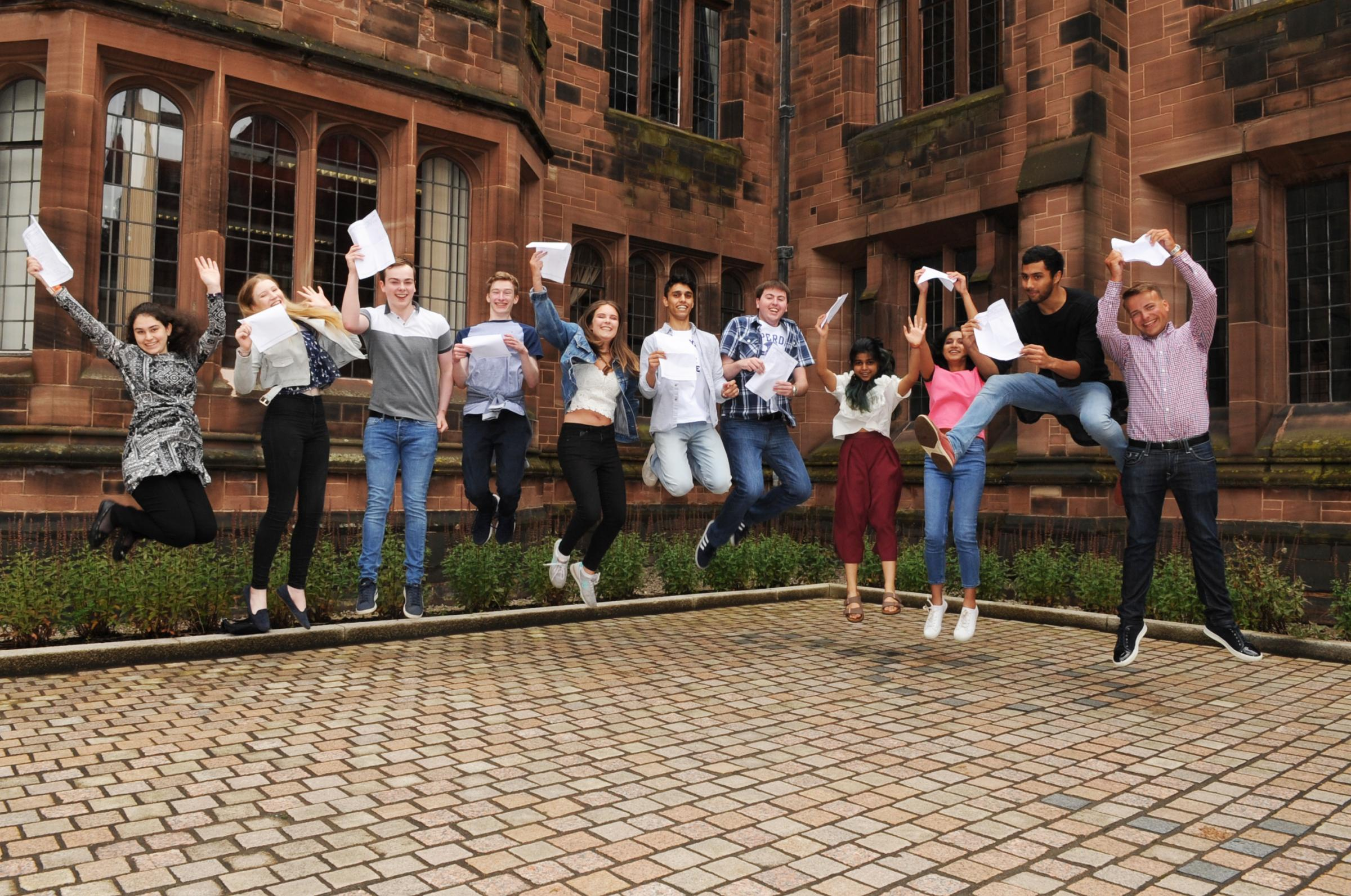 Bolton School Oxbridge Students celebrate their A Level results.