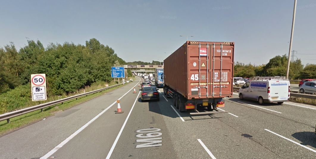 50mph speed limit through roadworks on the M60 PIC: Google Maps