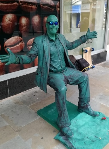 Fred the Living Statue entertains Bolton shoppers with mesmerising levitation performance