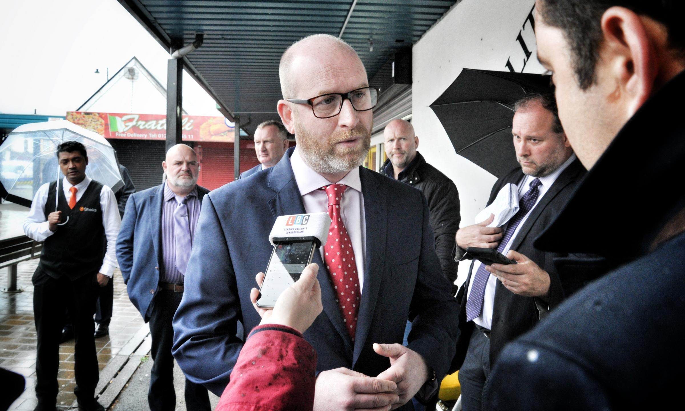 UKIP leader Paul Nuttall during a visit to Little Lever.