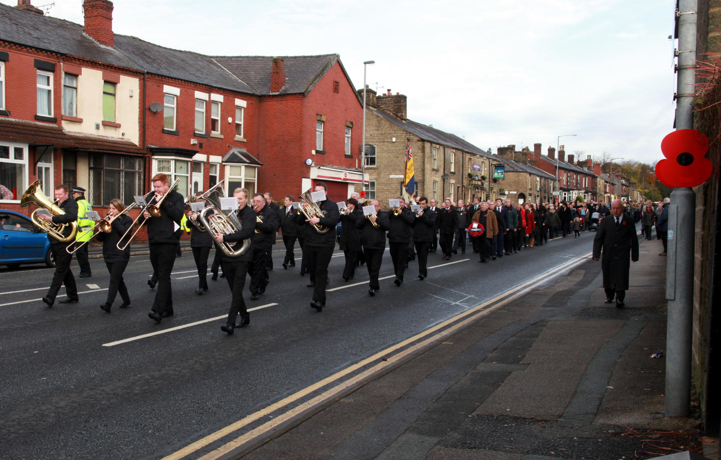 Remembrance Sunday parade in Astley Bridge.Picture: Mark Whittaker.
