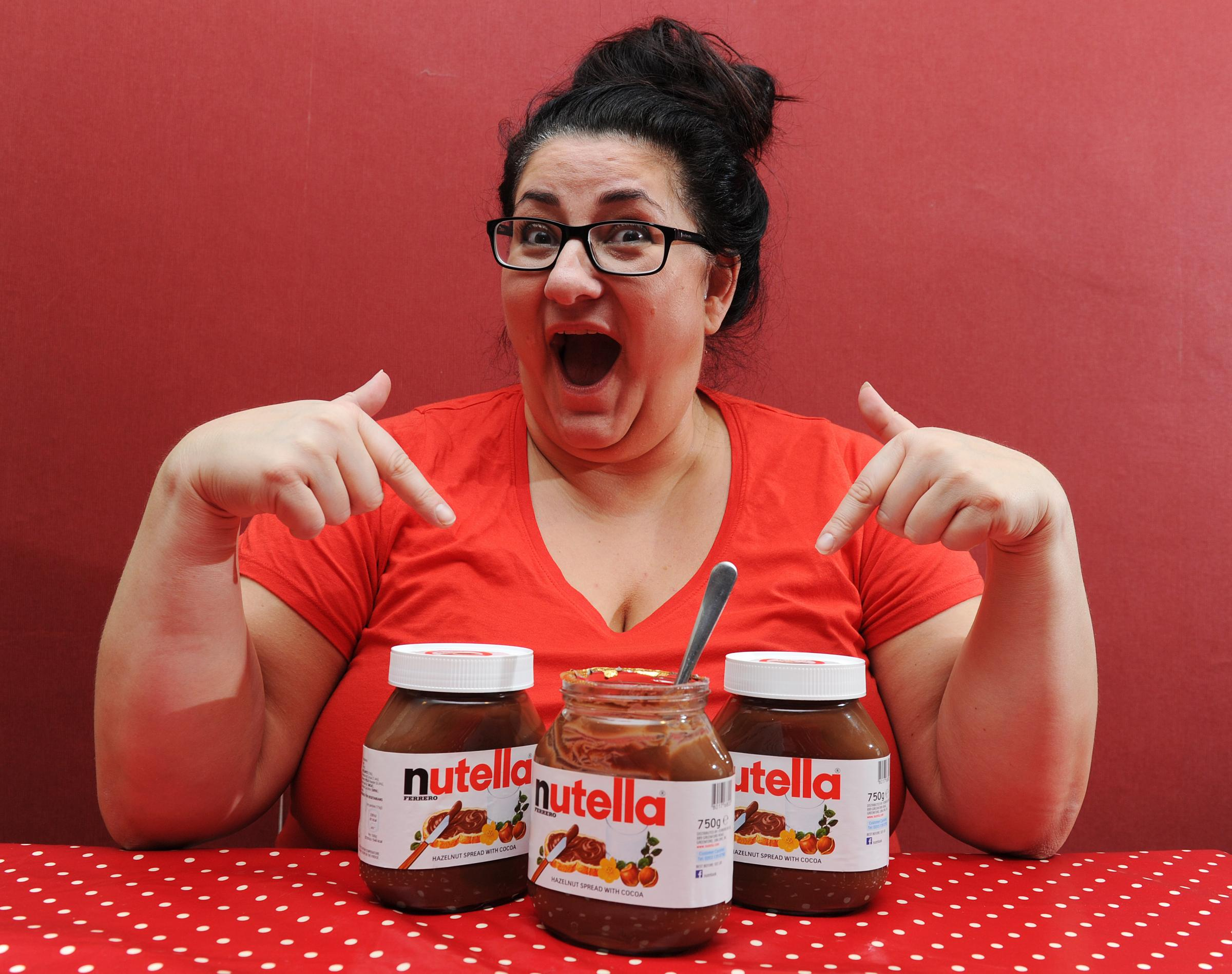 Antonella Brollini from Haslingden is hoping to break the world record for eating a jar of Nutella to raise money for Children in Need. Picture by Paul Heyes, Wednesday November 15, 2017.