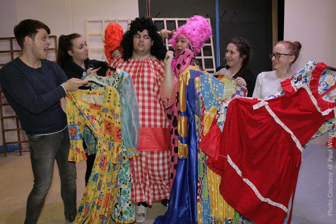 TALENT: Tyldesley Little Theatre cast of Beauty & the Beast featuring Connor Rankinson, centre, as the Dame, and newcomers Cameron Row, far left, and Sally Mason, far right
