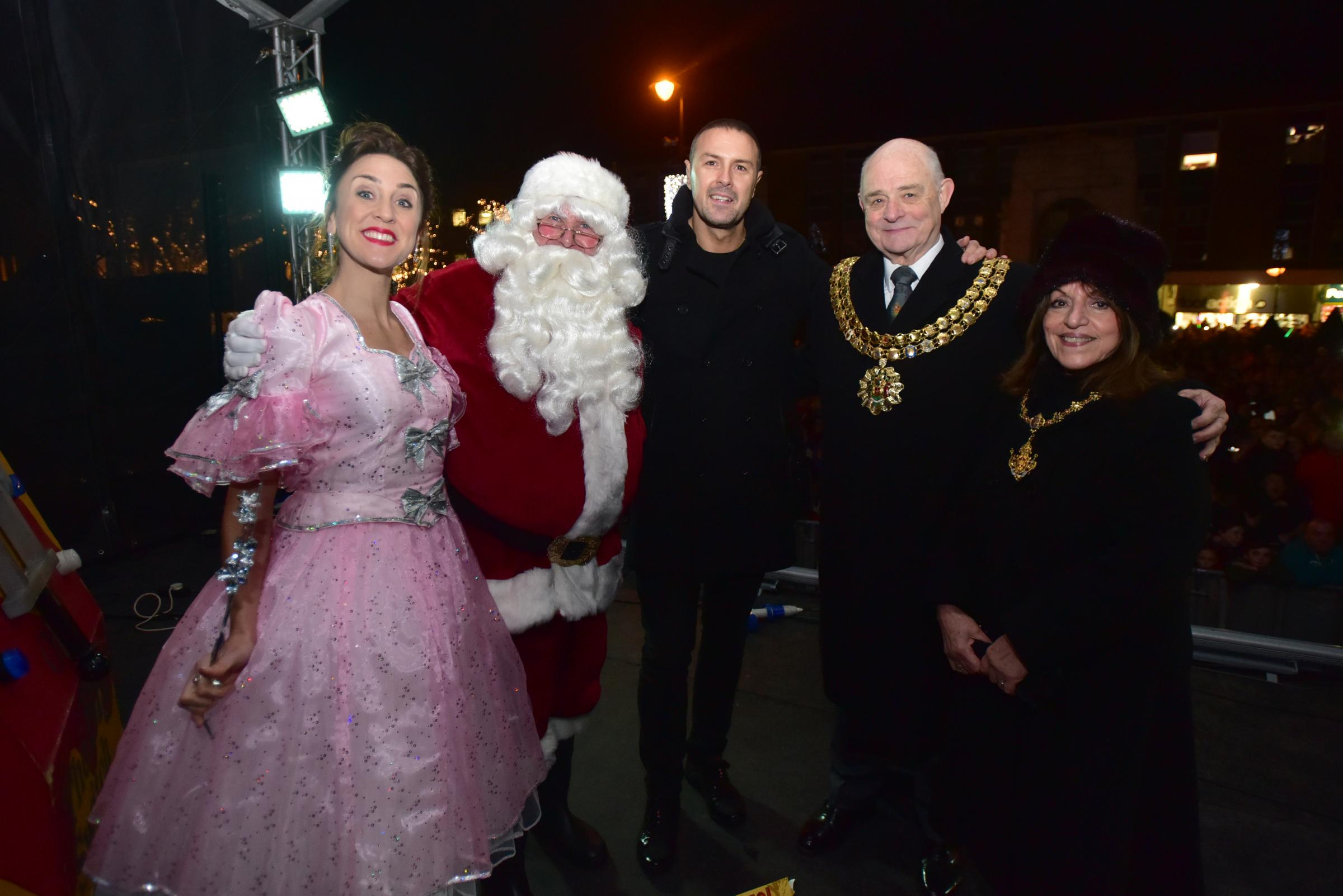 From left, Katy Ashworth, Father Christmas, Paddy McGuinness and the Mayor and Mayoress of Bolton at the Bolton Christmas Lights 2017