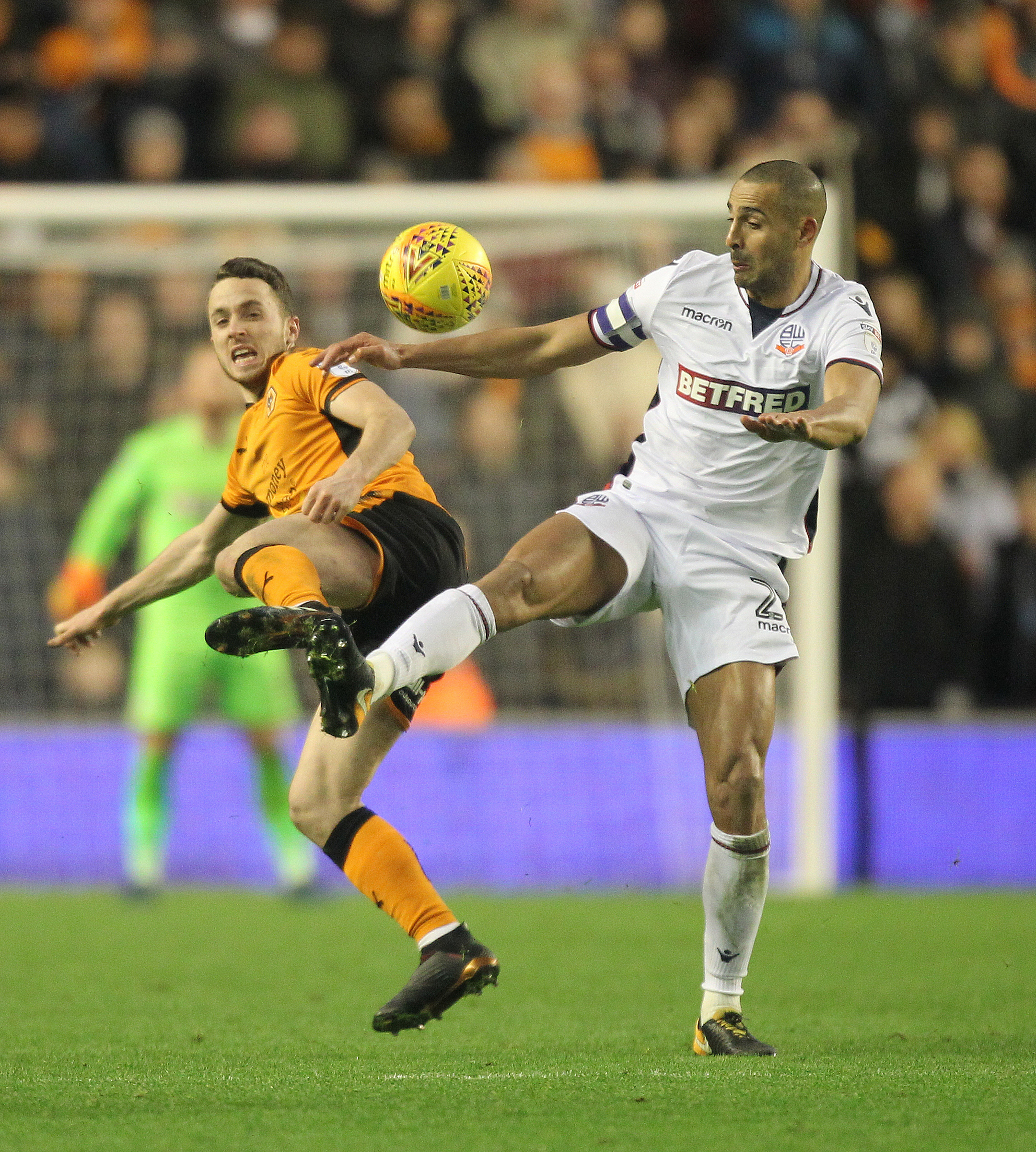 Darren Pratley battles for the ball in the 5-1 defeat against Wolves