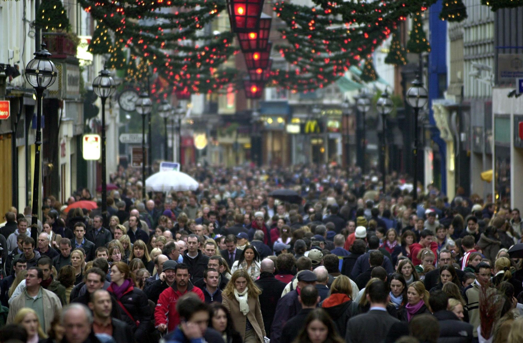 PA File Photo of Christmas shoppers in Gratfton Street, Dublin.  See PA Feature XMAS Shop. PA Photo/Hayden West.