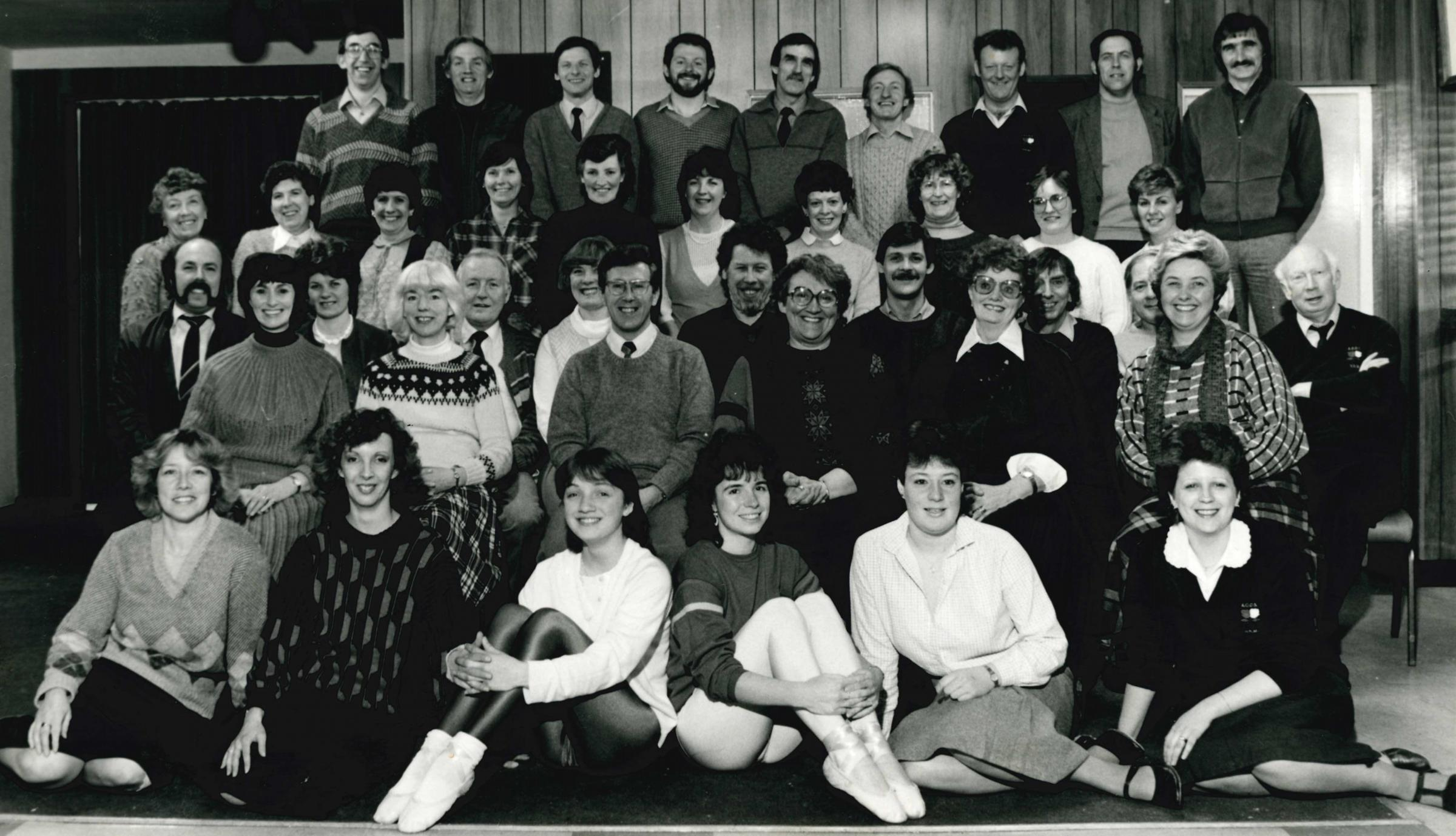 Horwich RMI Operatic Society cast of Pink Champagne being staged at Horwich Leisure Centre in March 1986