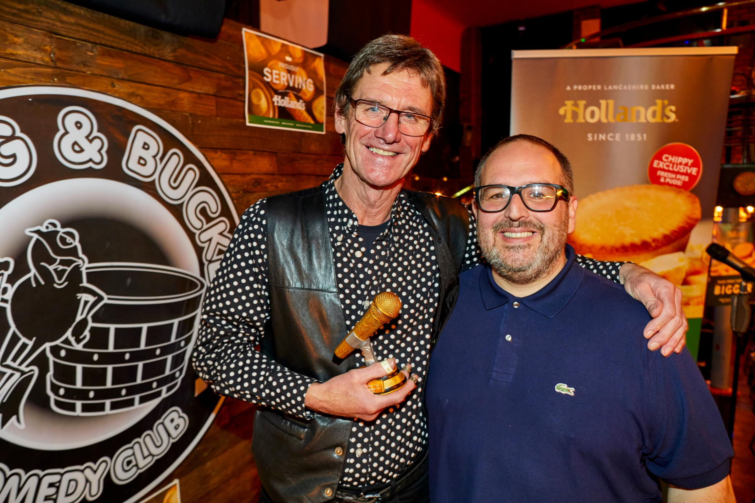 Holland's pies Vanoke final at the Frog and Bucket in Manchester, presented by comedian Justin Moorehouse and won by Jim Berry from Westhaughton