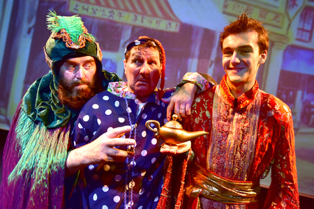 Some of the stars of Aladdin, including Stu Francis, centre.