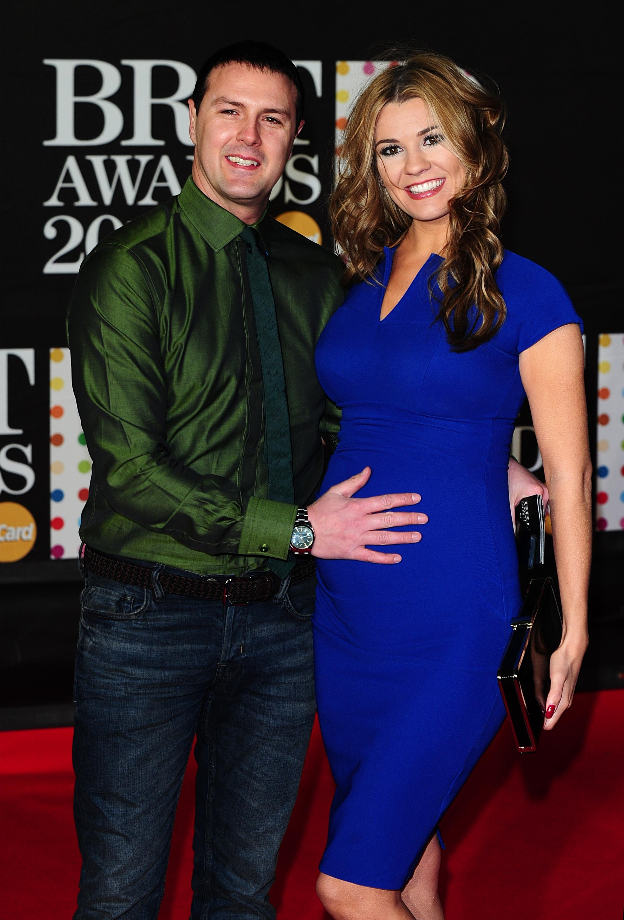 Patrick 'Paddy' McGuinness and wife Christine Martin arriving for the 2013 Brit Awards at the O2 Arena, London..