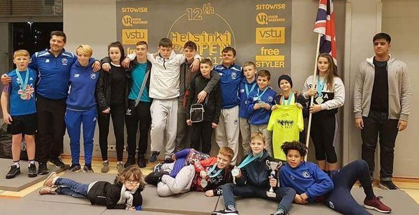 Members of Bolton Olympic Wrestling Club and the British national talent squad at the Helsinki Open