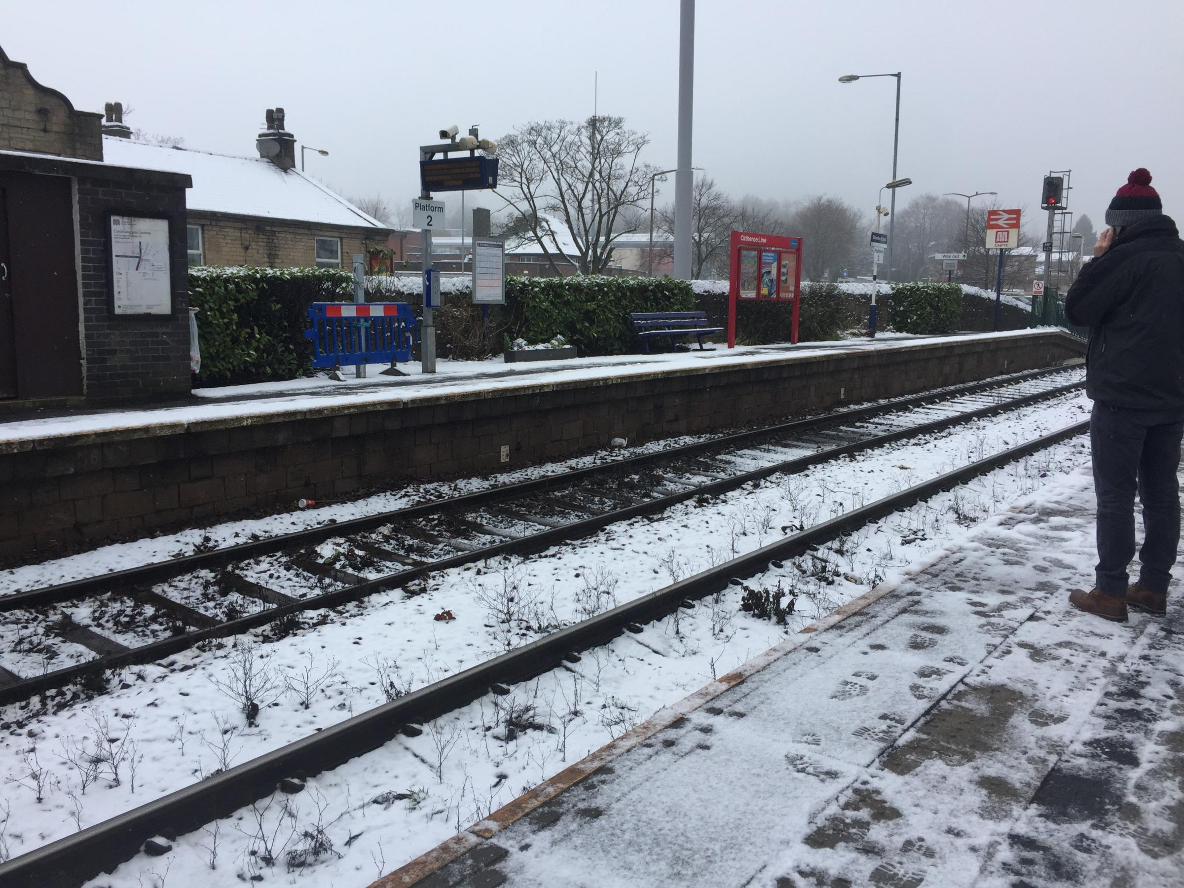 DELAYS: Bromley Cross train station in the snow
