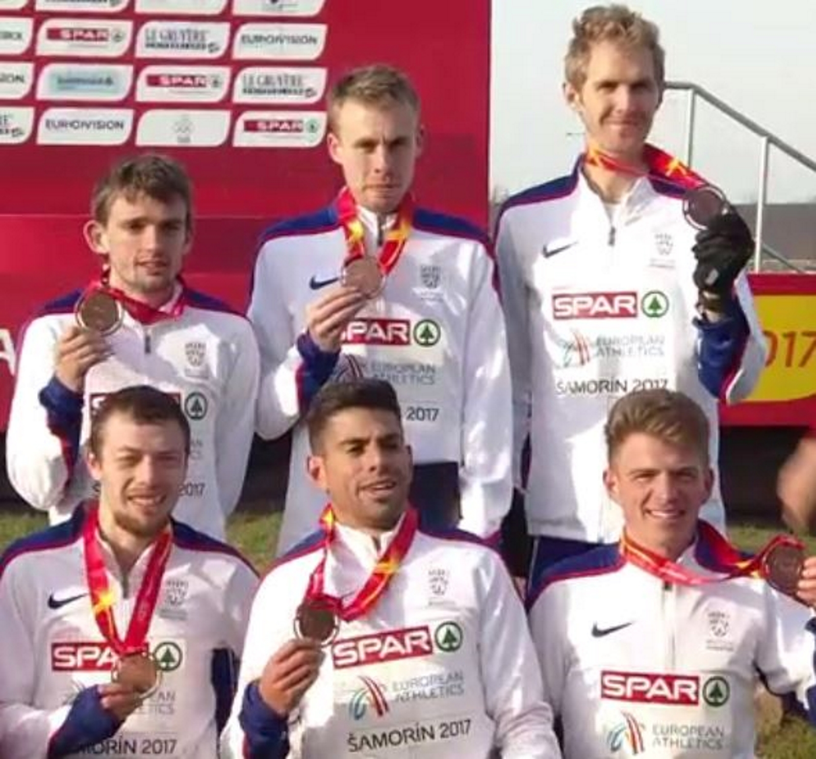 PODIUM: Tom Lancashire, front, centre, shows off his bronze medal with the Great Britain and Northern Ireland team at the European Cross Country Championships in Slovakia