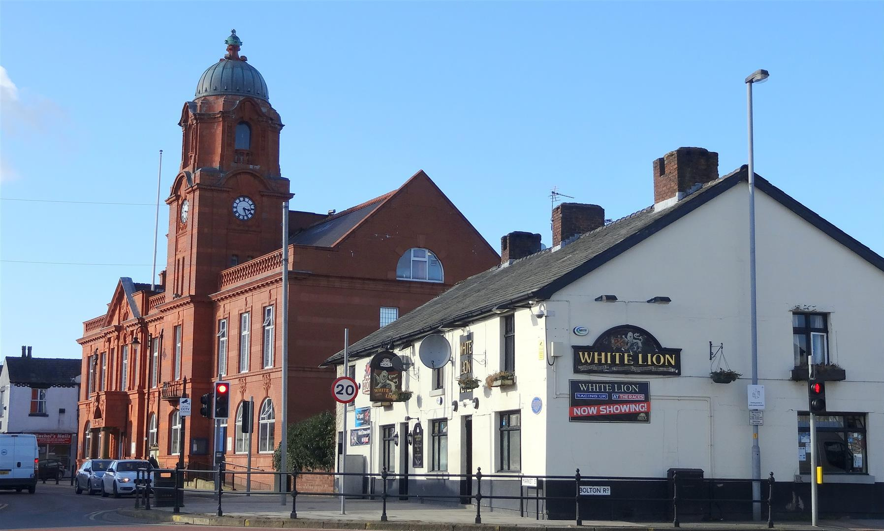 Westhoughton Town Hall & White Lion.By Roy Higson.