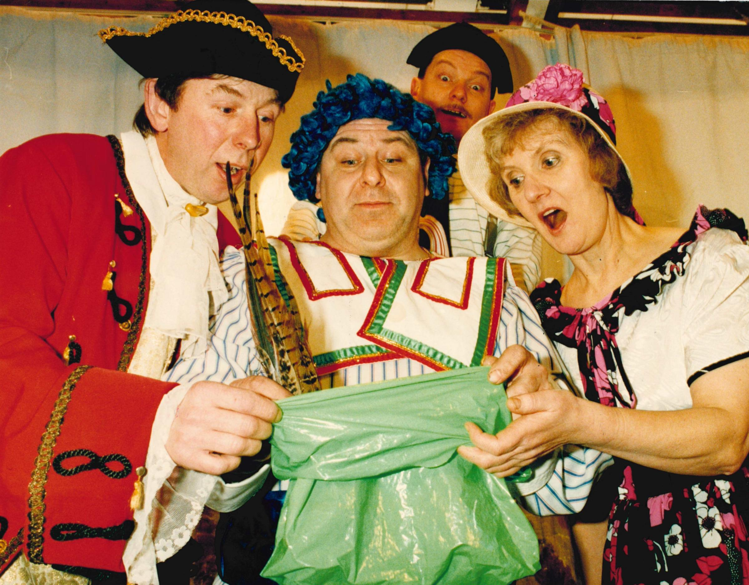 St Bedes Amateur Dramatic Society production of Puss in Boots, with Colin Gradwell, Glen Botham, Billy McGuiness and Julie Green. January 1994. Picture: Jon Savage