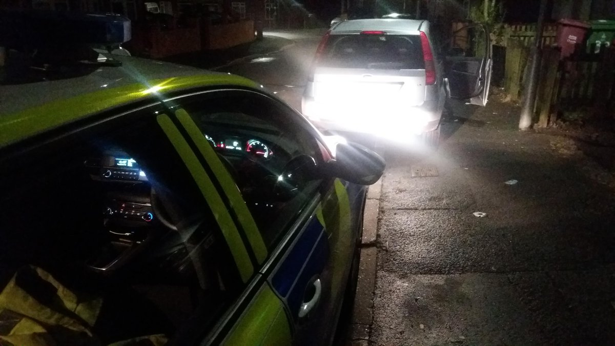 SEIZED: The car after it was stopped by police. Picture from GMP Traffic Twitter
