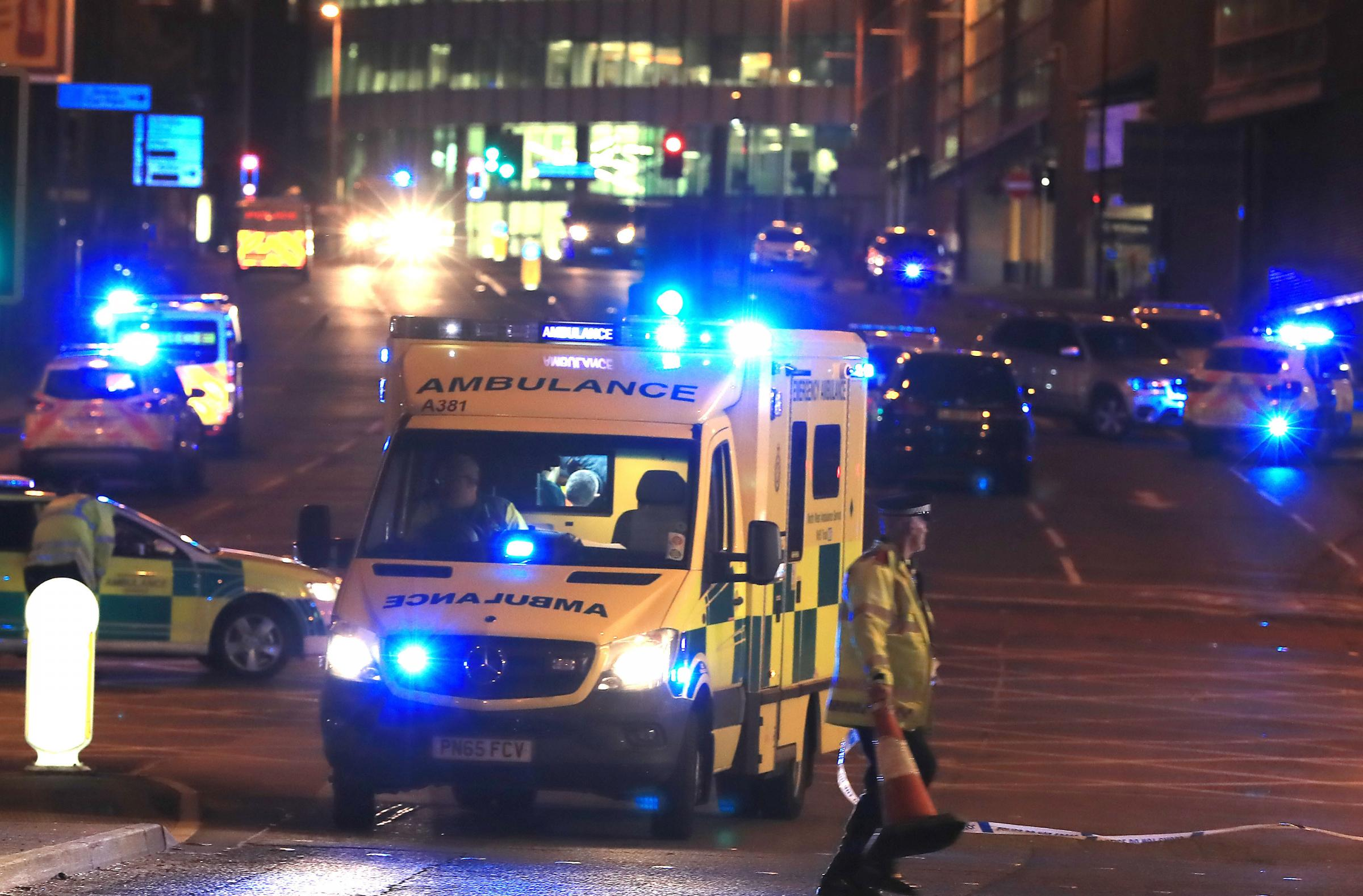 Emergency services at Manchester Arena after the bombing last year. Photo: PA