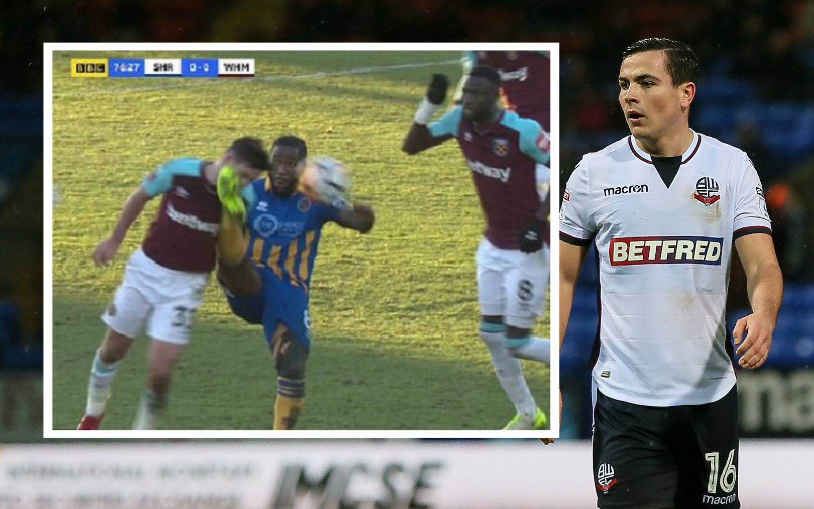 Josh Cullen and, inset, the incident at Shrewsbury which led to him losing a tooth. Pic from BBC Sport.