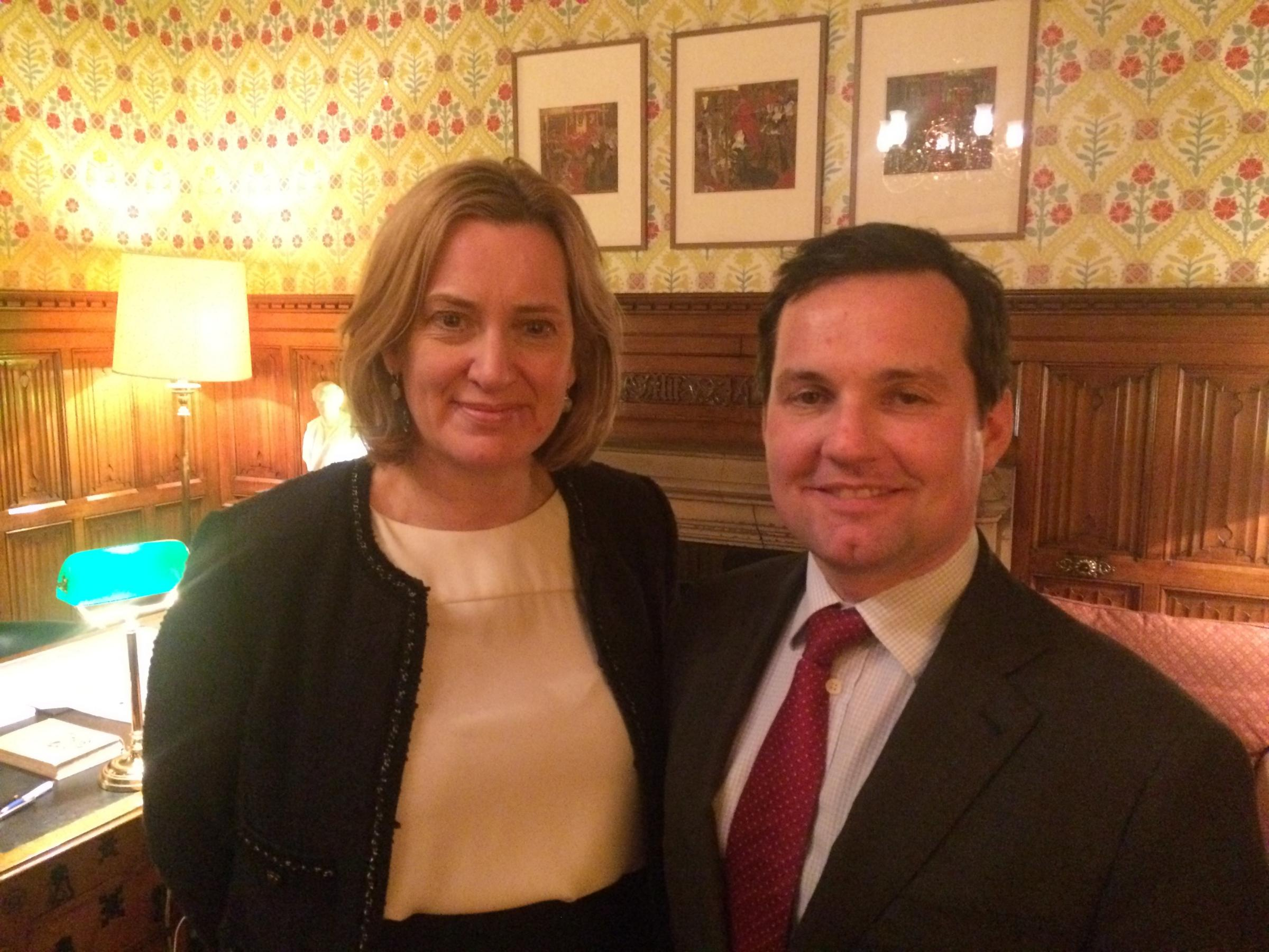 Home Secretary Amber Rudd with Bolton West MP Chris Green