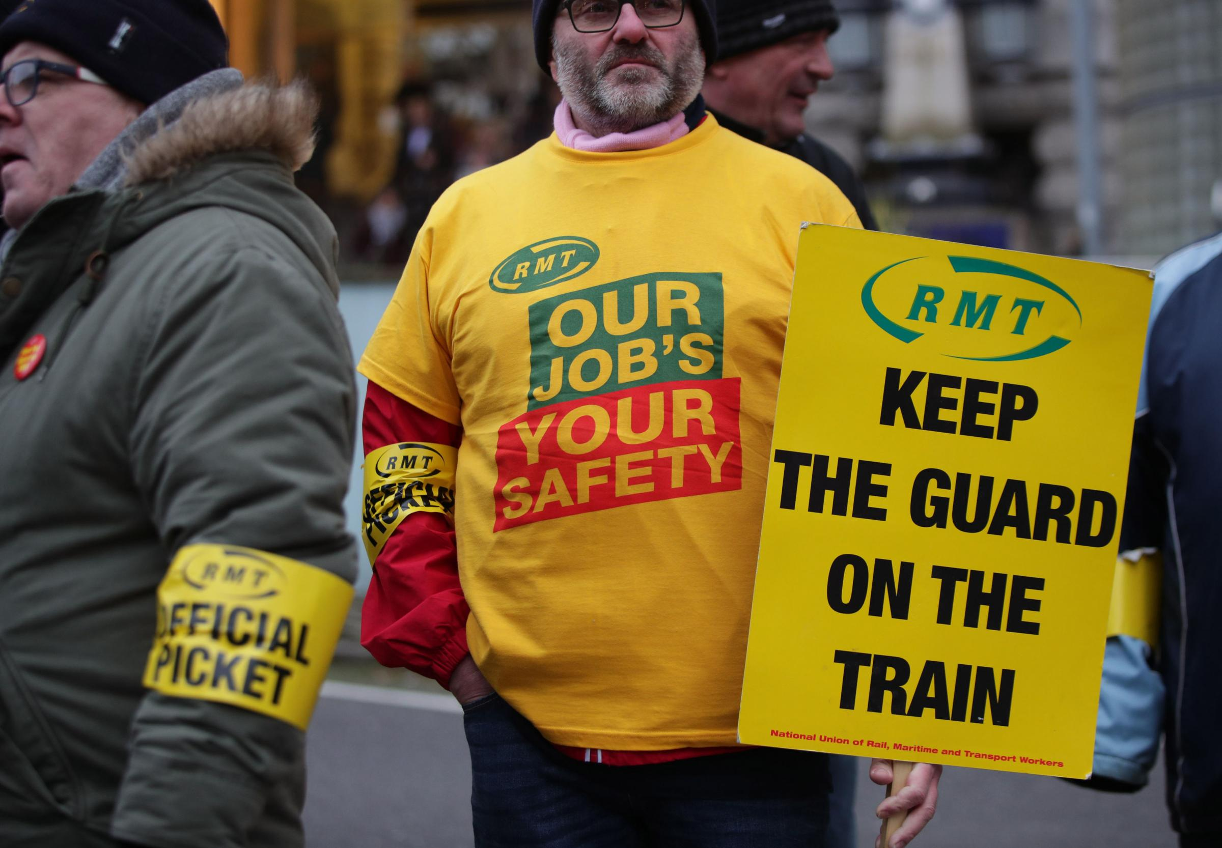 Members of the RMT union on the picket line. Photo: Yui Mok/PA Wire