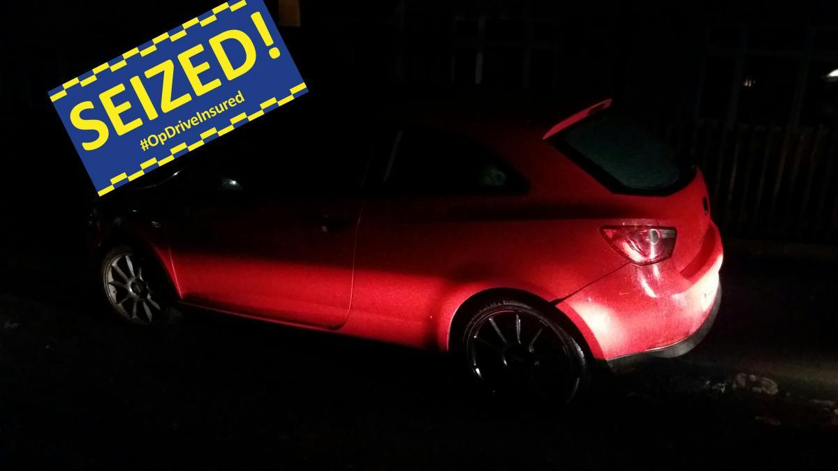 SEIZED: The car after it was found by officers. Picture from GMP Traffic