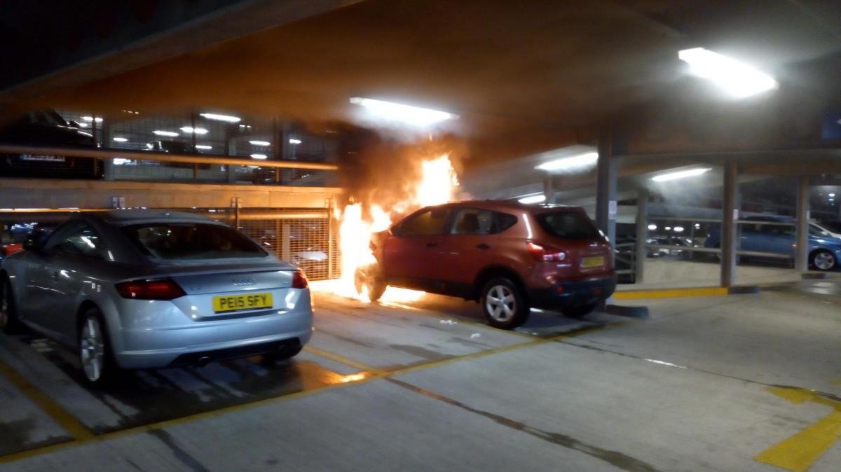car on fire in topp way car park | the bolton news