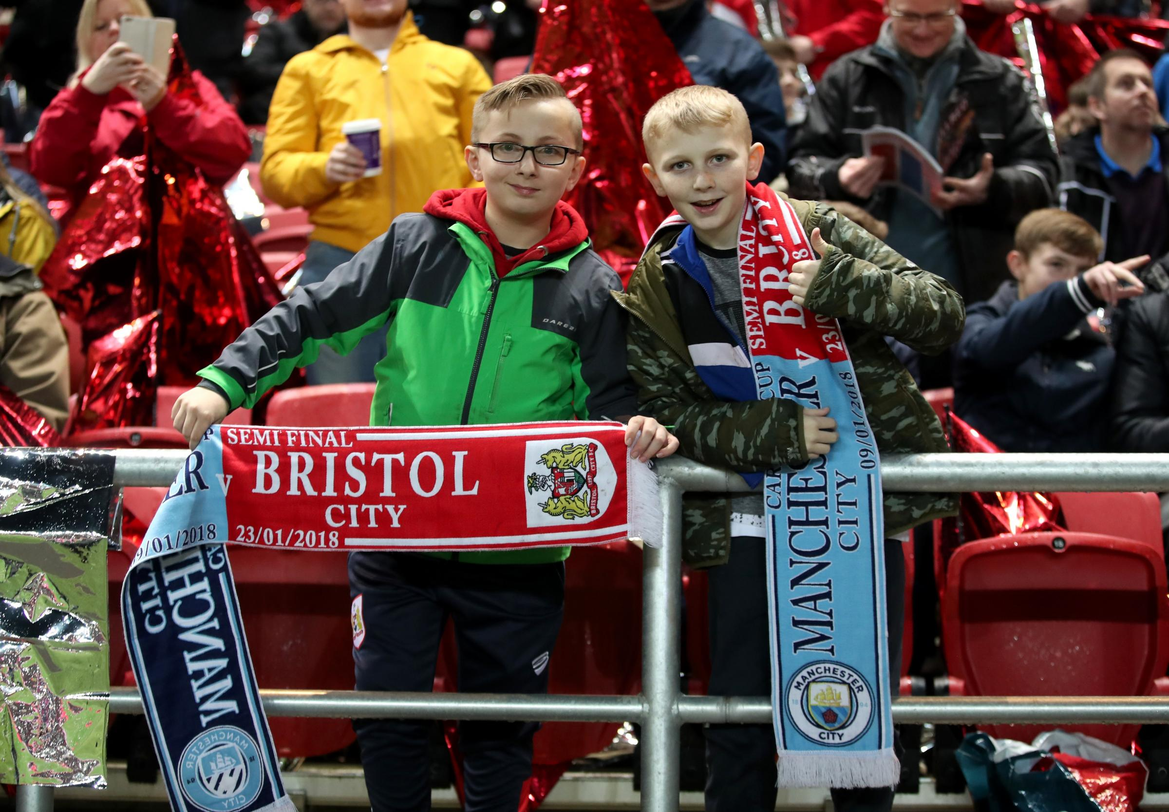 TRUE COLOURS? The modern phenomena of half-and-half scarves was in full flow at Ashton Gate on Tuesday night
