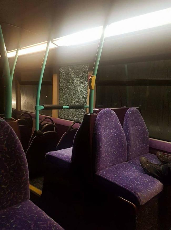 A bus window was smashed in Horwich