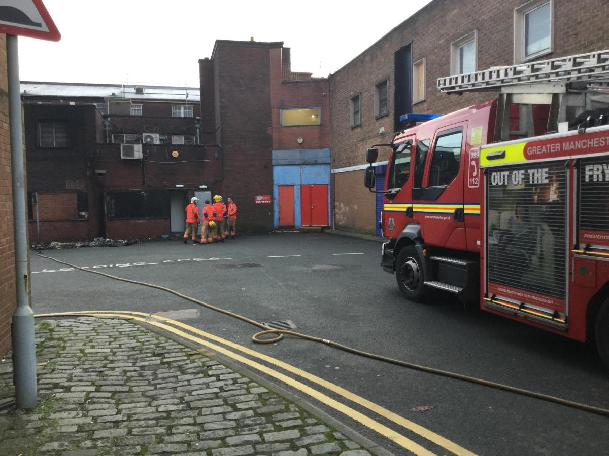 gas smell in bolton town centre - crews discover fire near car park