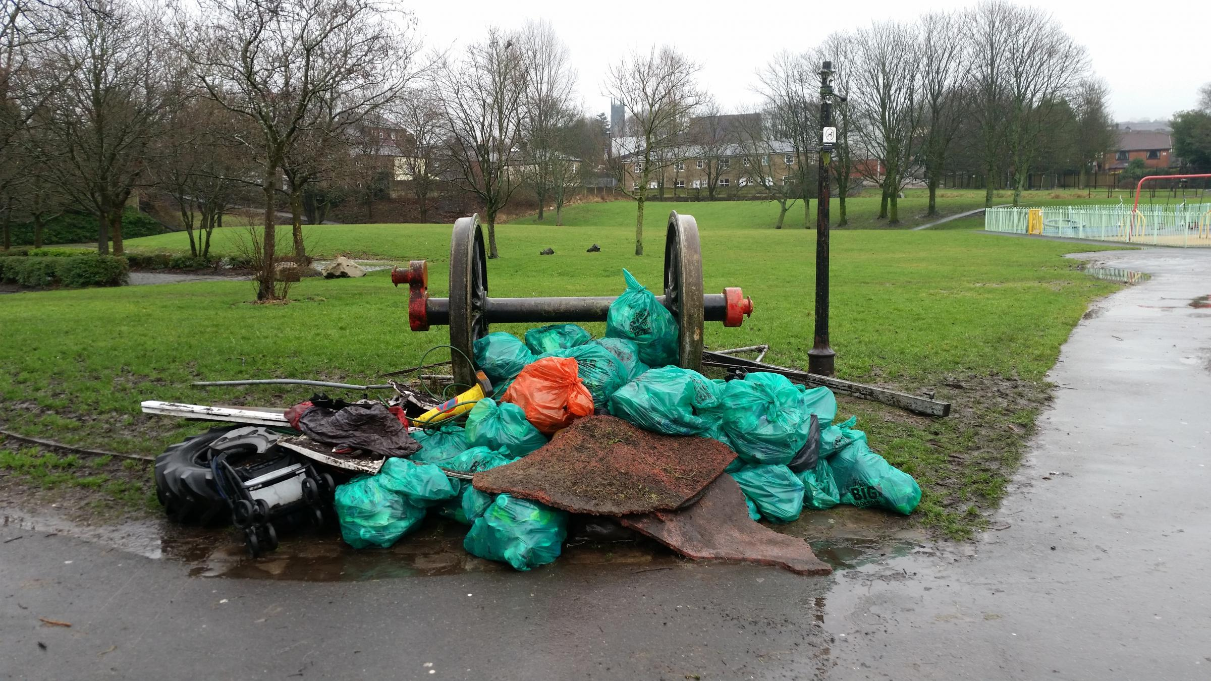 Bags of rubbish after litter pick at Old Station Park in Horwich