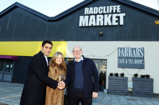 Cllr Rishi Shori, Jodie Bannister, of Farrars Cafe and Ricky Davies of Impact Management Solutions
