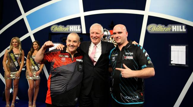 DARTING KINGS: From left, Phil Taylor, Barry Hearn (chairman of the PDC) and world champion Rob Cross