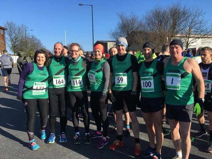 TEAM EFFORT: The Lostock AC athletes at the Lostock 6, from left, Heather Mills-Marlow, Adam Lowe, Stuart Hatton, Kerry Garden, Jocelyn Chadderton, Jonathan Cosgrove, Cub Gregory and Brian Halton
