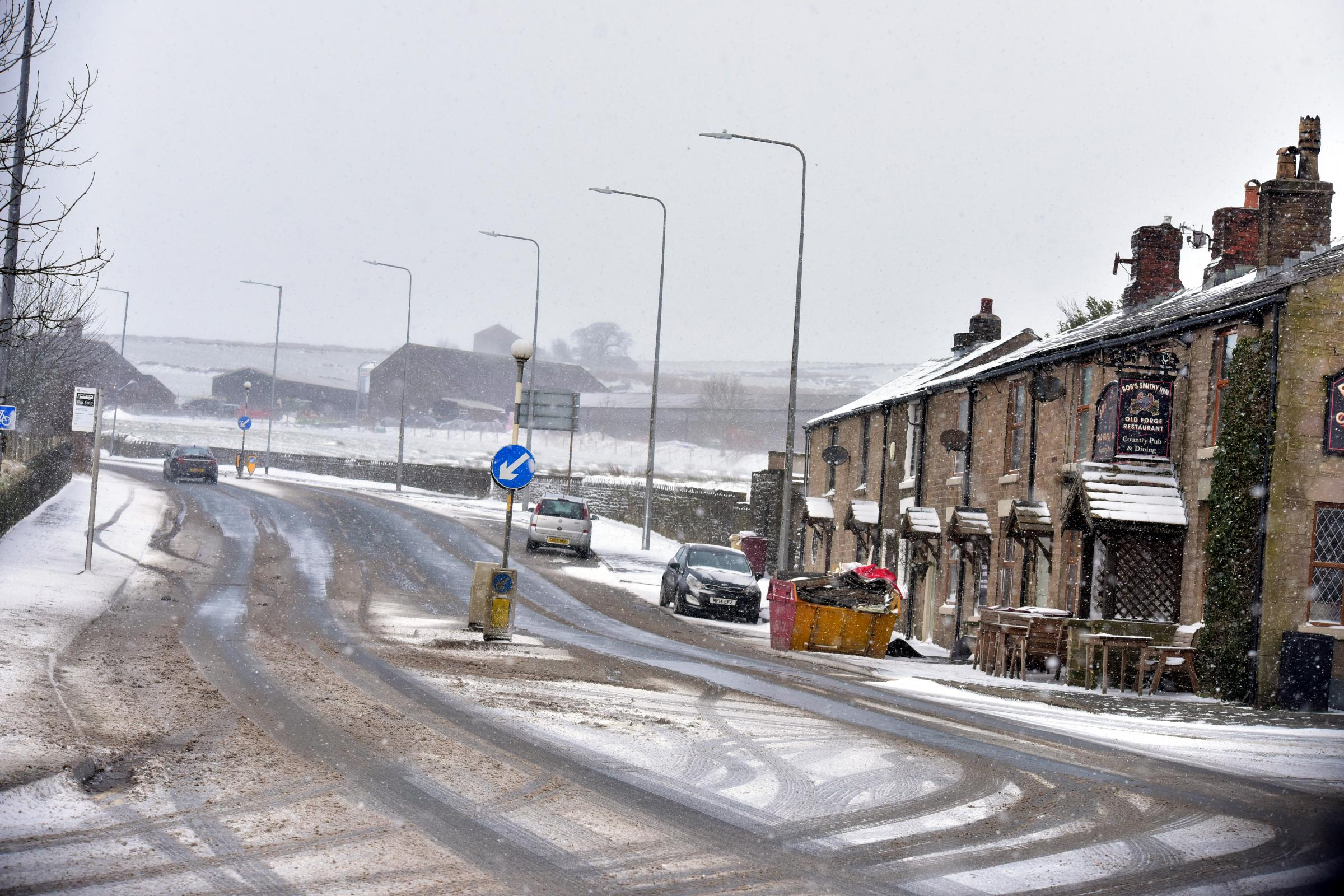Chorley Old Road in the snow.