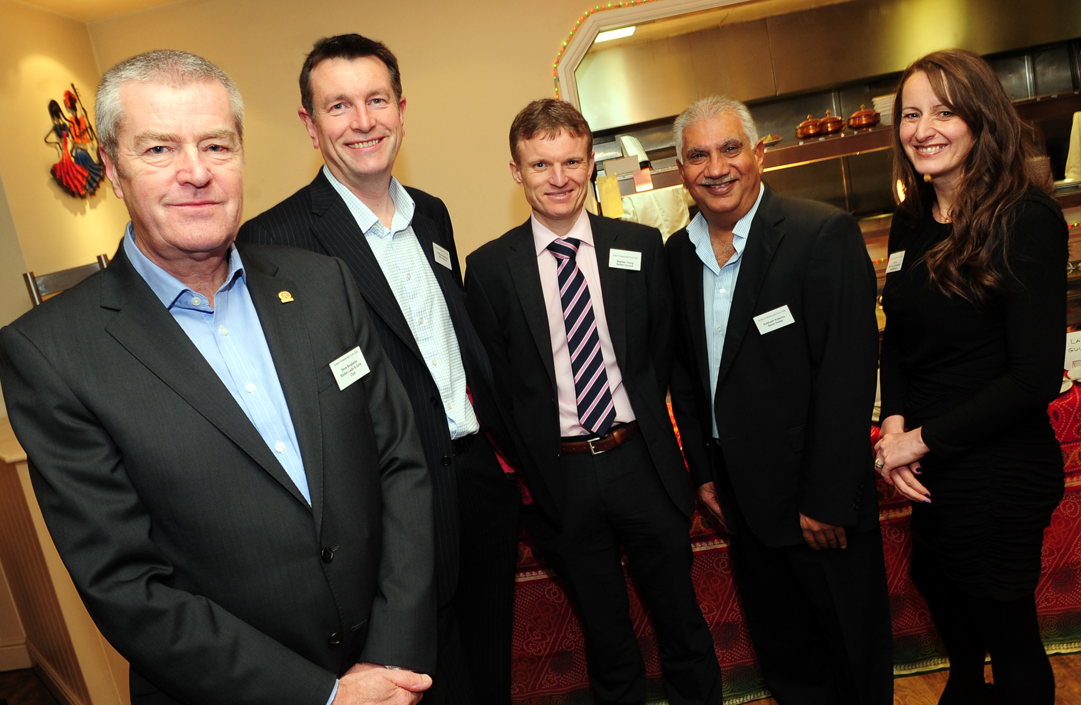 From left at the regular Curry Club are Dave Singleton, guest speaker and chair of Bolton Lads and Girls Club and The Bolton Vision Partnership, Phil Stephenson, KBL, Stephen Young, Bolton Council, Subhash Kotecha, Spice Valley and Gill Hart, Organisor. P