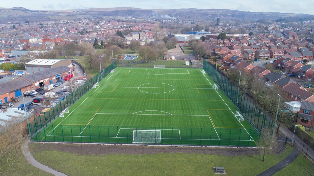 PITCH: An aerial view of the new 3G pitch in Old Station Park, Horwich Picture Andrew Coward