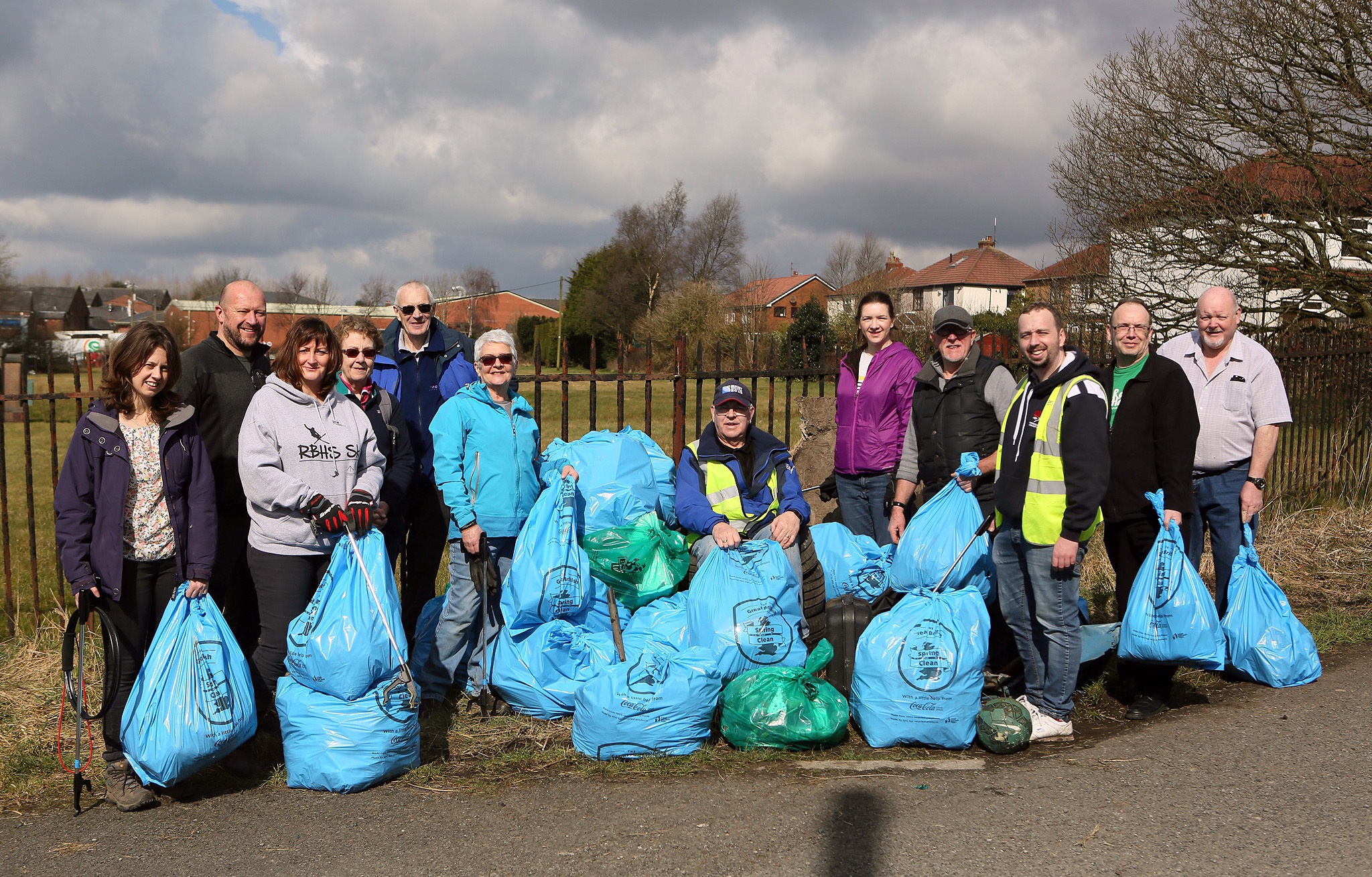 Members and volunteer helpers of Horwich First Community Group who collected litter along Ox Hey Lane as part of the Great British Spring Clean Picture Gary Taylor